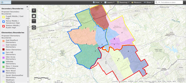 Picture of the Boundary Map of the WCASD click on it to access the school pattern finder