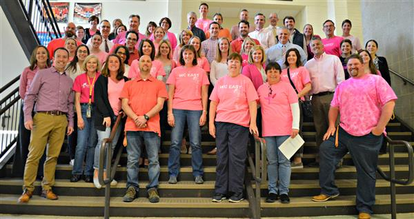 East High School staff wear pink to show their support in the fight against breast cancer.