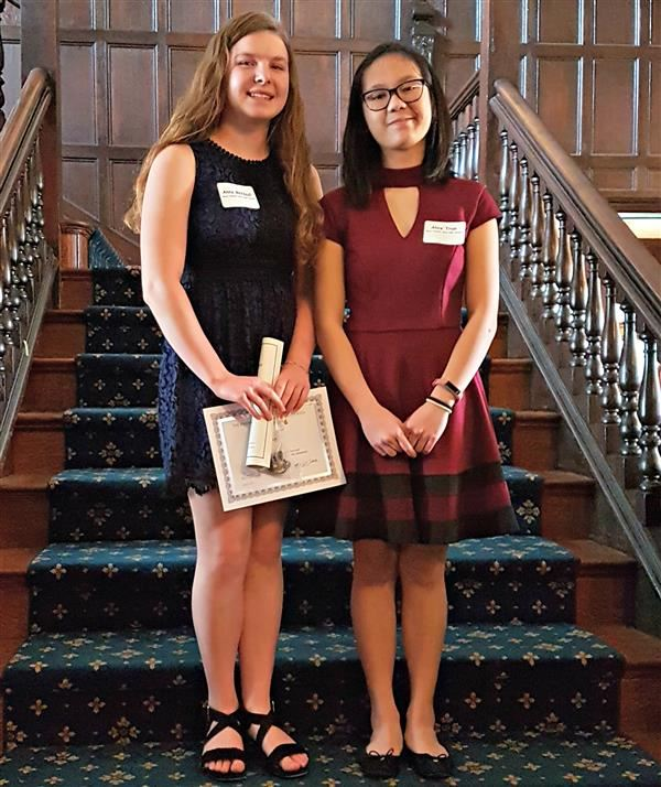 East Freshmen Alice McNaull and Anna Tran receive Founders Award from the Emergency Aid of Pennsylvania