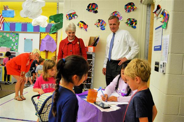 Representative Carolyn Comitta and Dr. Scanlon visit a kindergarten classroom at Fern Hill Elementary School