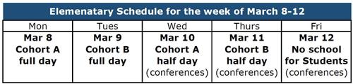 Elementary Schedule for March 8-12