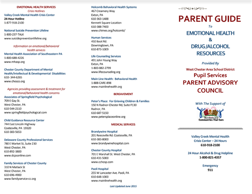 Parent guide with list of Emotional Health Service